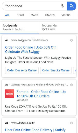 Screenshot from Google SERP showing  brand keyword strategy for sponsored content