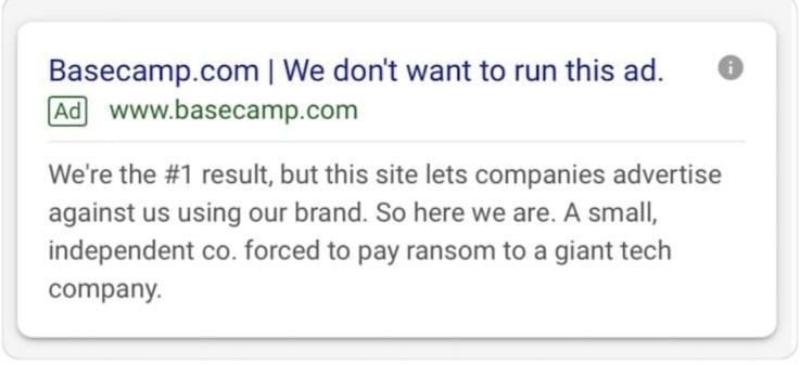 Basecamp Brand ad bidding