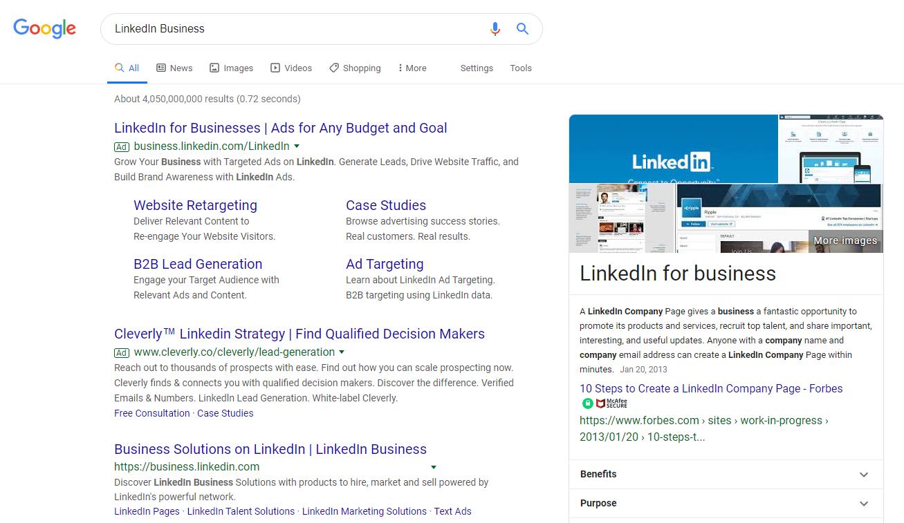 linkedin business brand keywords