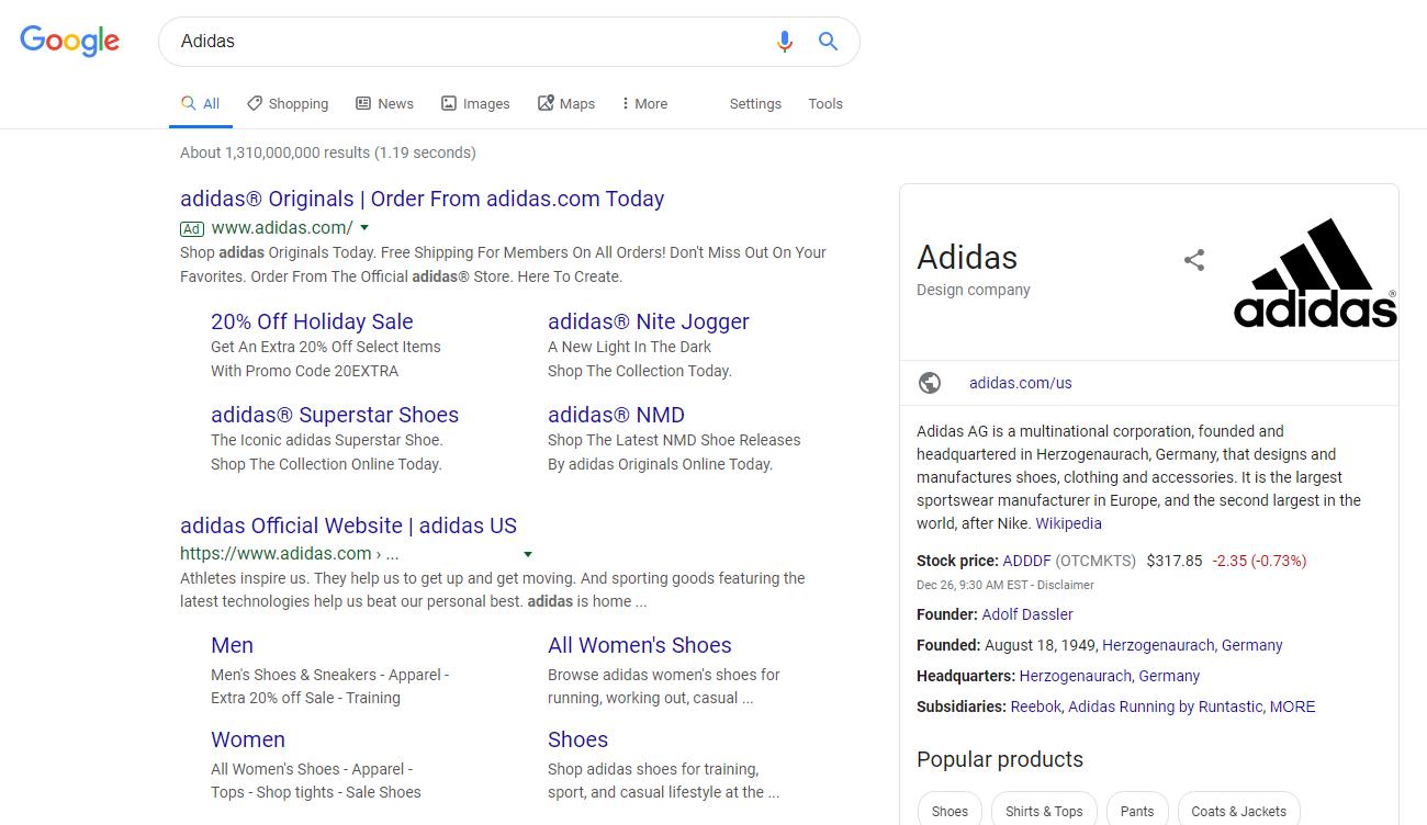 adidas brand keyword bidding